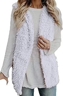 Women's Soft Sherpa Fleece Vest Lined Stand Collar Warm Waistcoat with Pockets