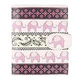 Shagwear - Piccolo portafoglio Rosa Elefante Tribale Modello Rosa/ Tribal Elephant Pattern S