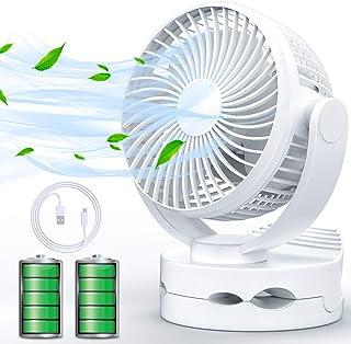 【2019年最新製品】USB扇風機 卓上扇風機 充電式 クリップ ファン 超静音 大風量 5000mA 20h連続使用 小型 強力 風速4段階調節 360度角度調整 LEDライト機能付き ホワイト