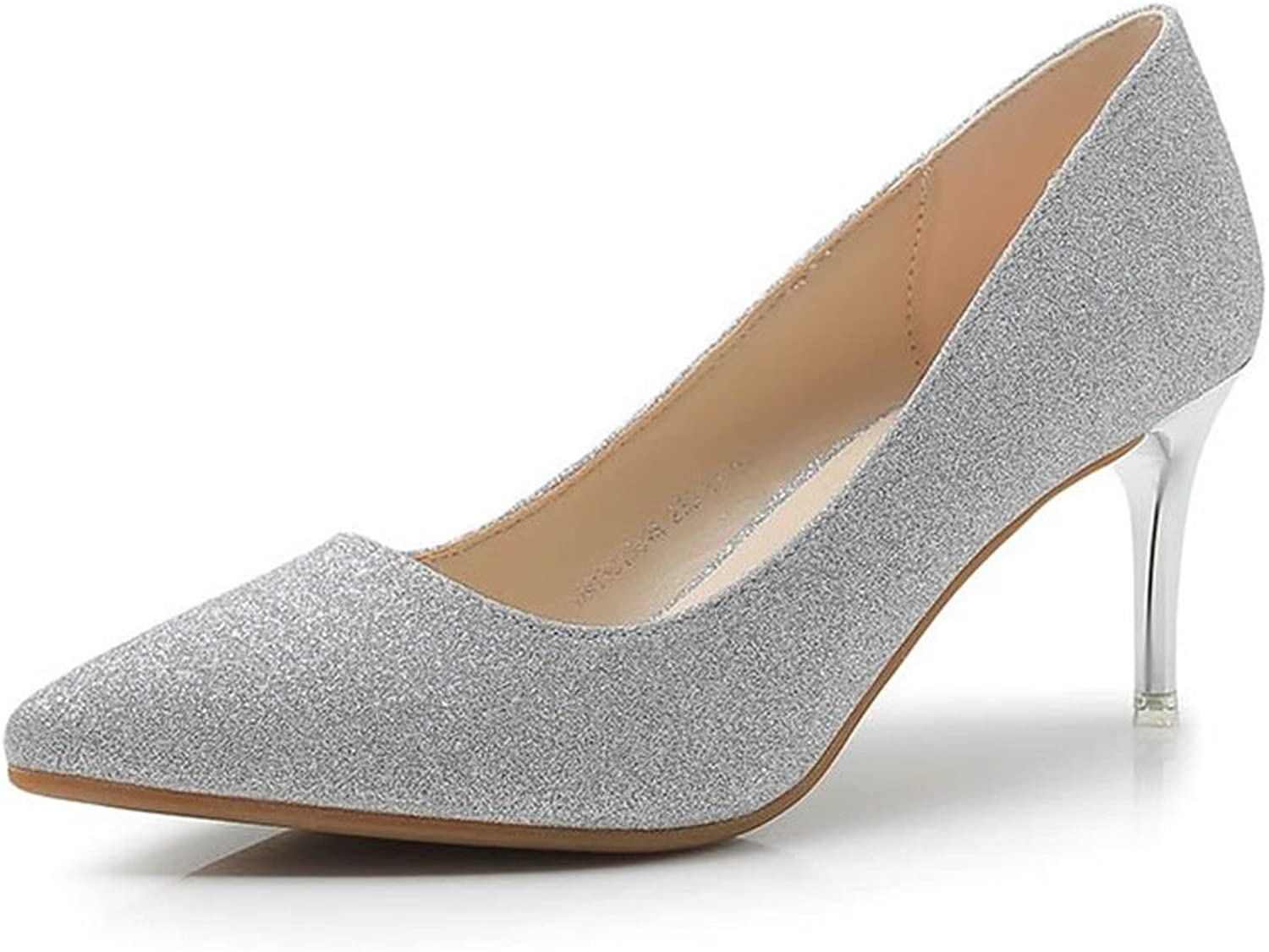 WXMDDN Spring Korean Pointed Shallow high-Heeled shoes Women fine with Wedding shoes