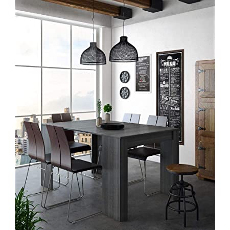 Skraut Home - Table Console Extensible avec rallonges, jusqu'à 140cm, Salle à Manger, Couleur Grise, fermée 90x50x78cm, Jusqu´à 6 pers.