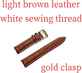 Calf Genuine Leather Watch Band Strap Stainless Steel Clasp 22mm 18mm Watchband Gift,L Brown White Gold,13mm