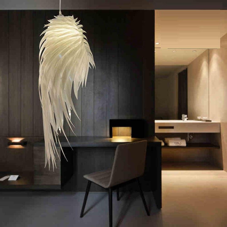 Moderner eleganter Kronleuchter Warme Dekoration Weie Federlampe Kunstdesign 1 × E27 Hhenverstellbar Wohnzimmer Schlafzimmer [Energieklasse A +]