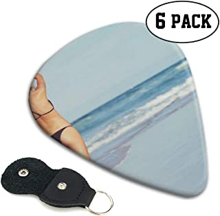 Guitar PicksBack View of A Big Seaside Model Guitar Picks 6-Piece Set, Made of ABS, Available in Three Sizes Suitable for Guitars, Ukulele and More