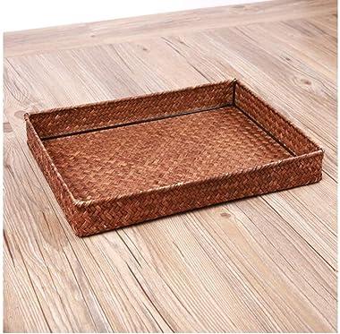 ZXY-NAN Handmade Seaweed Woven Storage Basket Tea Tray Tray Snacks Remote Control Storage Basket 37 27 5cm Storage Chests Fur