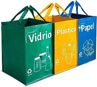 comprar comparacion Opret Bolsas Basura Reciclaje 3 Pack Cubo de Reciclaje Separadas con Asas Gran Capacidad 40L para Papel, Vidrio y Plástico...