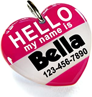 ID4Pet Hot Pink Hello My Name is Heart Shape Pet ID Tag