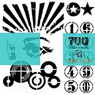 7UG Designer Pop Art Stencil (13cm x 13cm) for Mixed Media, Scrapbooking, Bullet Journal, Art Journal:Abra-sua-mei