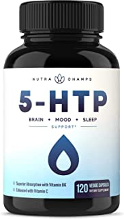 5-HTP 200mg Supplement - 120 Capsules - Natural Support for Brain, Mood & Sleep - Calm & Relaxing Serotonin...