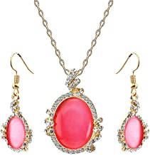 ZINSBEDI Red Oval Stone Austrian Crystal Gold Plated Ring Earring Pendant Necklace Wedding Jewelry for Women