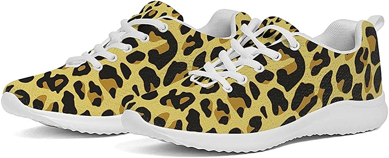 Women's Breathable Running Sneakers Leopard Print Exercise Casual Walking Shoes Mesh Air Fashion Sports Shoes