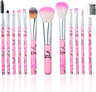 YINUO 12 Pcs Cute Cartoon Hello Kitty Makeup Brush Set,Makeup Foundation Powder Blush Eyebrow Eyeliner Cosmetic Brushes for Women Girls Children Kids Birthday Gift (Hello Kitty)