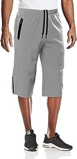 MAGCOMSEN Men's Quick Dry 3 Zipper Pockets Workout Running Hiking Shorts 3/4 Capri Pants Below Knee