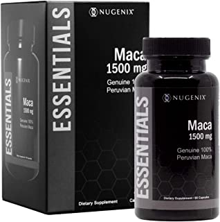 Nugenix Essentials Maca Root Powder Capsules - 1500mg Genuine 100% Peruvian Maca Extract - Supports Increased Energy, Perf...