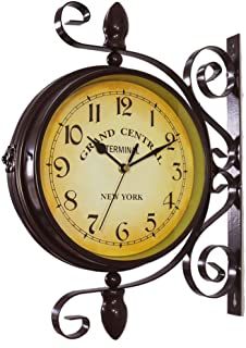 Vintage Double Sided Wall Clock Iron Metal Silent Quiet Wall Clock Train Railway Station Style Wall Clock 360 Degree Rotate Antique Clock