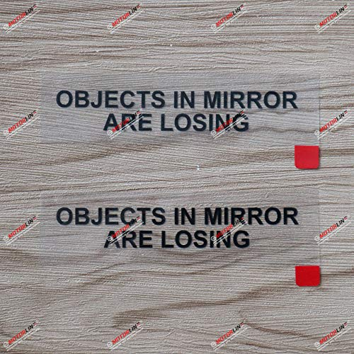 2X Black 4 Inches Objects in Mirror are Losing Decal Sticker Funny JDM Car Side Review Mirrors Vinyl
