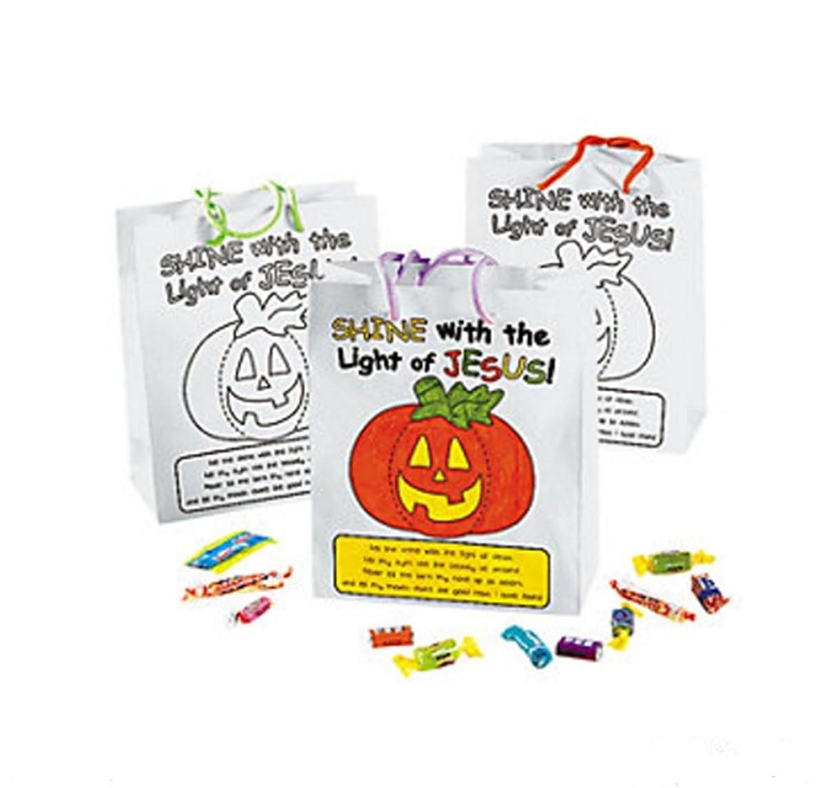 Color Your Own Christian Pumpkin Gift Bags (1 Dozen)