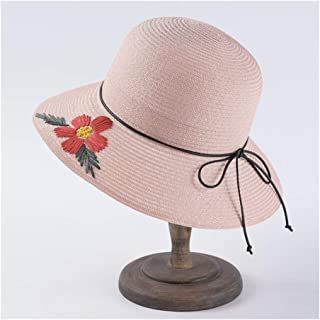 Lei Zhang Hand-Embroidered Visor Female Sunscreen hat Fisherman hat Basin Cap Bow Straw hat (Color : Pink)