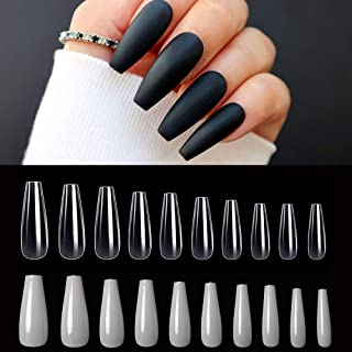 AORAEM Ballerina Coffin Shape Acrylic False Nails 1000Pcs Clear and Natural Full Cover Long Fake Acrylic Nail Tips with Bag for Women (Natural+Clear)