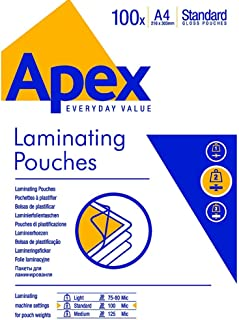 Apex Pochettes de plastification 100 microns, A4, pack de 100 pochettes, finition brillante, 6003301