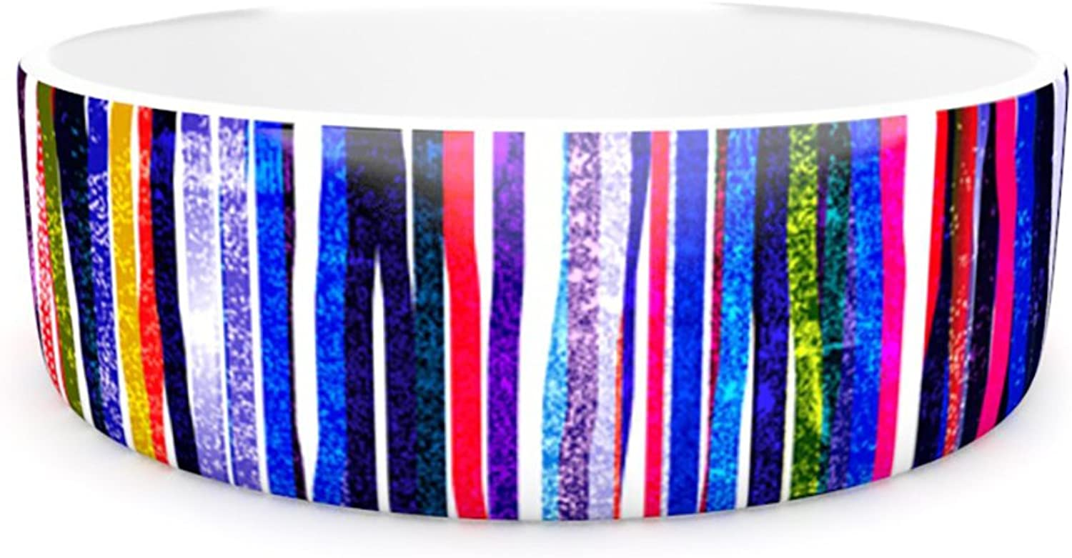 Kess InHouse Frederic LevyHadida Fancy Stripes Purple  Pet Bowl, 7Inch