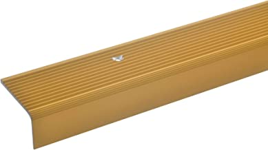 acerto 33422 Aluminium traphoekprofiel - 100 cm 23 x 40 mm goud * antislip * robuust * eenvoudige montage trapprofiel trap...
