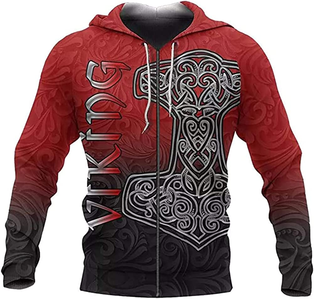 Viking Odin Thor's Hammer Tattoo Mens Hoodie, Mjolnir 3D Printed Sweatshirt Casual Loose Jacket Oversize Couple Pullover
