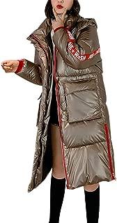 Women Thicker Coats Winter Warm Loose Windproof Aurora Bright Surface Diamond Long Overcoat E-Scenery