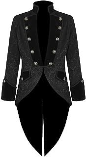 Mens Steampunk Tailcoat Jacket Velvet Gothic VTG Victorian/Tail Coat (Large, Brocade)