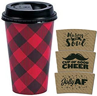 Disposable Coffee or Hot Chocolate Cups - Buffalo Plaid, 24-ct with Holiday Kraft Sleeves