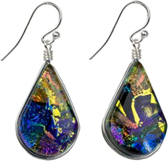 Ivy Pendant Nickel Smart Rainbow Blue Nickel Free Colorful Dichroic Glass Pendant for Women