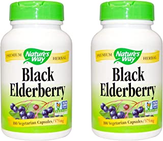 Black Elderberry Berries & Flowers Nature's Way 100 Caps (Pack of 2)