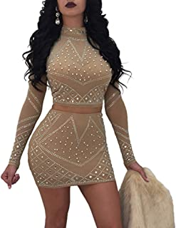 Nhicdns Womens Sexy Two Pieces Bodycon Outfit Embellished Rhinestone Long  Sleeve Crop Top with Mini Dress f680374bb
