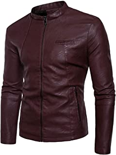 Mens Plus Size Casual Stand Collar Zip Front Solid Slim Faux Leather Fleece Moto Jackets one US X-Large