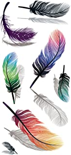 TAFLY 5Sheets Waterproof Fake Tattoo Stickers 3D Colorful Feathers Water Transfer Temporary Tattoo