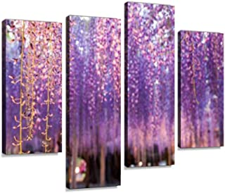 4 Panel great wisteria purple tree waterfall landscape stock pictures, Canvas Pictures Home Decor Gifts Canvas Wall Art fo...