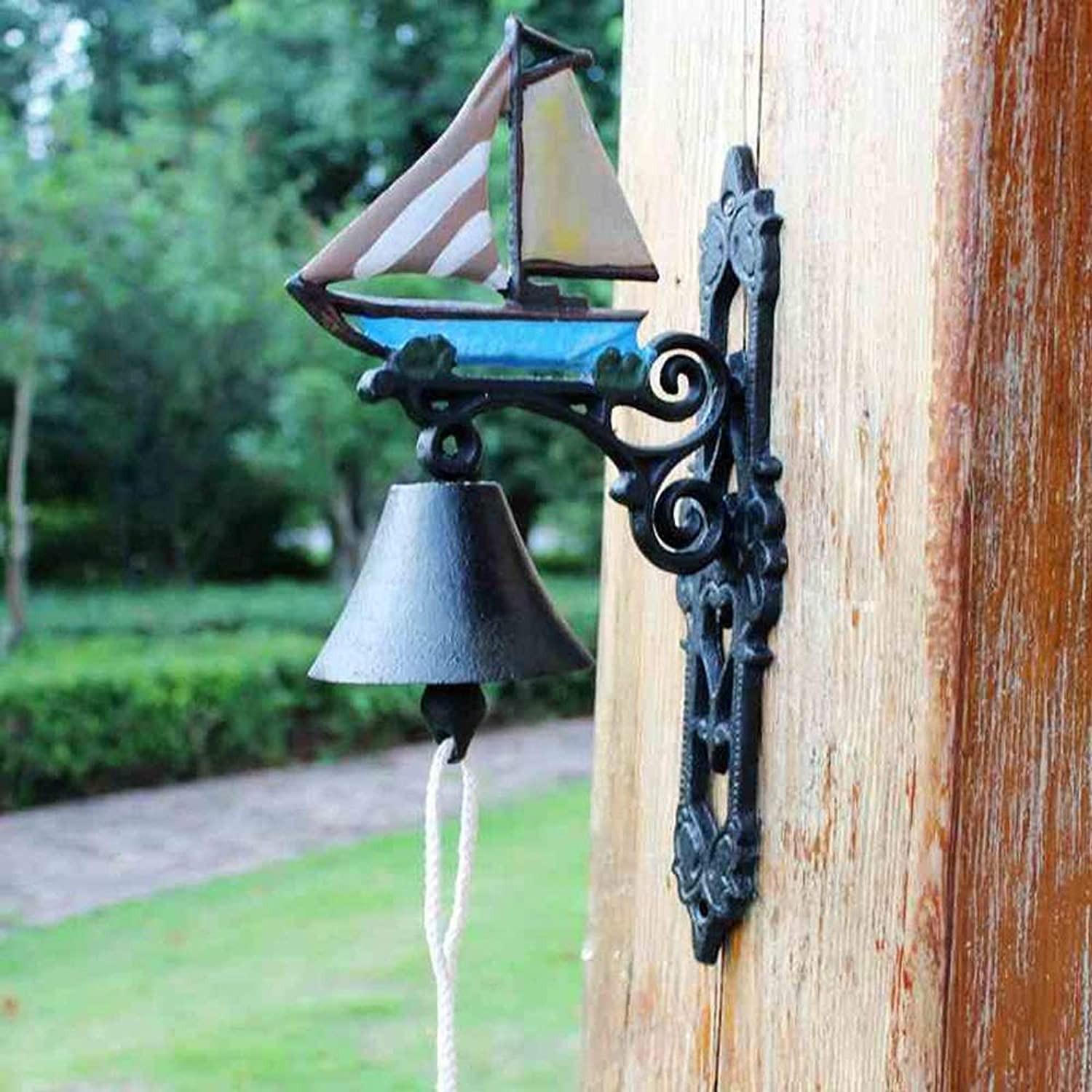 DEjh Victorian Style Cast Iron Doorbell Decorated Front Door Bell Sailboat Decorated Farm Yard