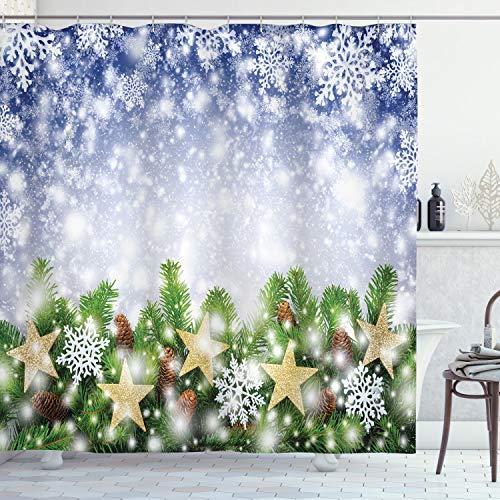 ABAKUHAUS Weihnachten Duschvorhang, Bokeh Schneeflocken, Bakterie Schimmel Resistent inkl. 12 Haken Waschbar Stielvoller Digitaldruck, 175 x 200 cm, Multicolor