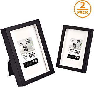 WAHFAY 4x6 Picture Frames - Premium Photo Frame Made to Display Pictures 2.5x3.5 with Mat or 4x6 without Mat - for Tabletop and Wall Display - 2 Pack, Bosta Black