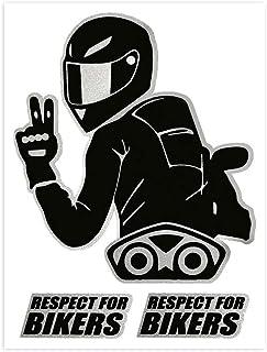 4R Quattroerre.it 6341 Super geformter Aufkleber Respect For Bikers, 10 x 12 cm