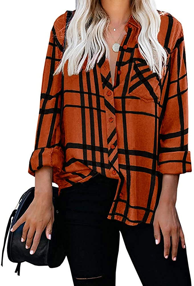 Womens V Neck Button Down Plaid Shirt Casual Long Sleeve Stripes Collared Tops Work Blouse with Pocket