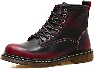 HFWJHH Dr. Martin Leather Men's Shoes Autumn and Winter Men's British high-top Bare Boots Tooling Boots, Suitable for Walking, Travel, Daily wear, Hiking