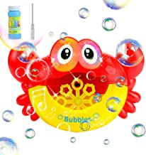 ColorHome Bubble Machine for Kids - Crab Shape Bubble Blower with Flashing Light and Music,Bubbles Party Favors
