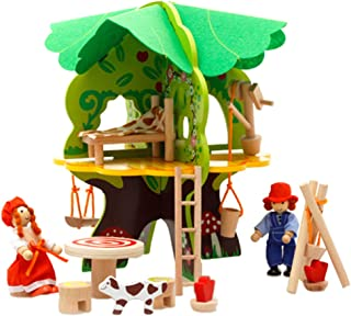 HOMYL DIY Wooden Dollhouse Tree House Miniature Doll Figures Furniture Project Construction Kits Kids Building Toy Early Learning
