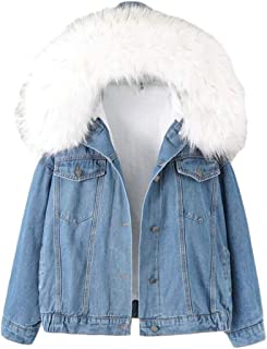 Macondoo Women Winter Short Coat Fleece Faux Fur Collar Jean Denim Jackets