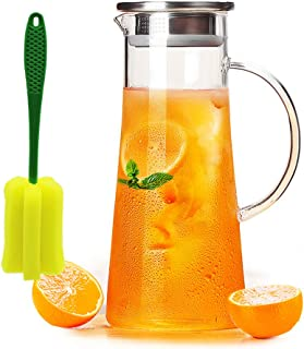 Glass Water Pitcher with Stainless Steel Infuser Lid and Spout - Heat Resistant Pitcher for Hot/Cold Water 50 oz (Glass, 1500ml)
