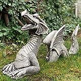 Statue de Dragon de Jardin, Dragon Jardin Statue Fausse Pierre résine Sculpture pour la décoration extérieure à la Maison Ornements de Jardin Animal extérieur (Blanc)