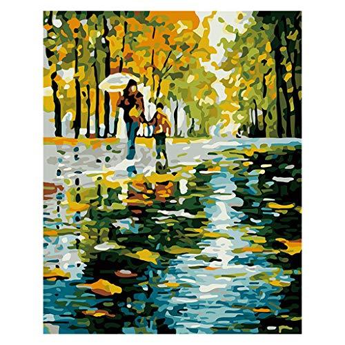 S-TROUBLE Pintar por números para Adultos y niños Kits de Regalo de Pintura al óleo DIY Arte de Lienzo preimpreso Decoración del hogar -Amor la Lluvia