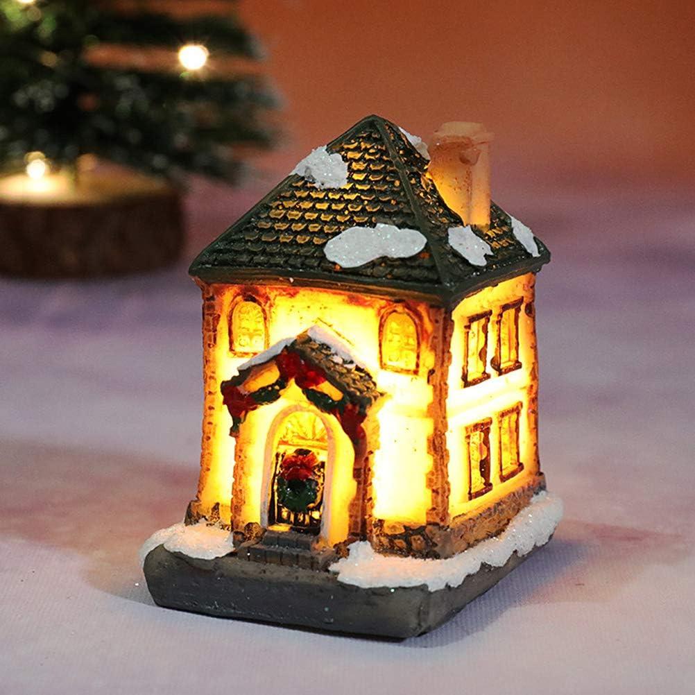 Prevessel LED Resina de Navidad Luz Casa Mini LED Resina Casa Casa Miniatura Navidad Regalos de Navidad Decoraciones de Navidad Resina Escena de Navidad Casa Ciudad