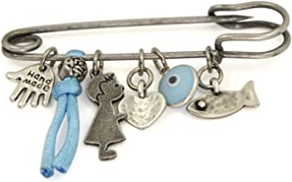 Silver Tone Evil Eye Protection Charms Baby Safety Pin Brooch for Crib